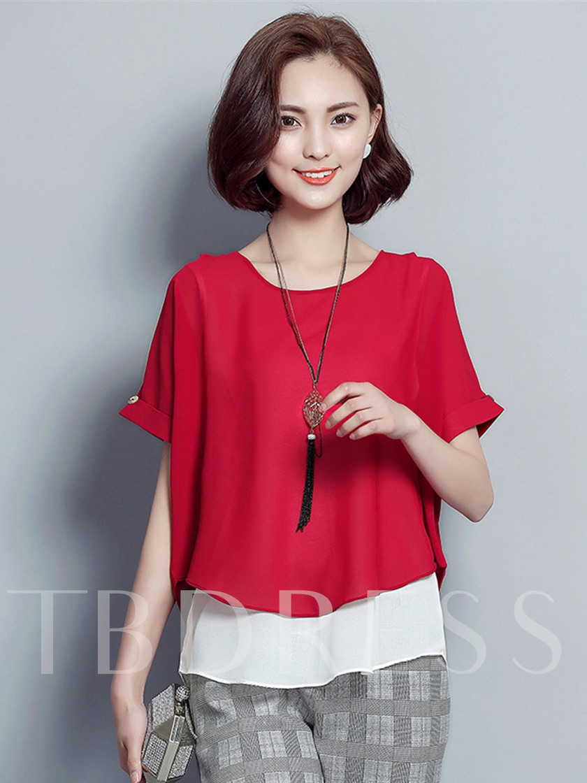 Solid Color Back Single-Breasted Short Sleeve Women's Blouse