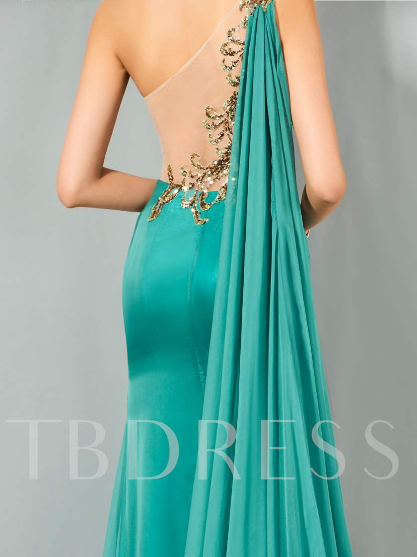 One-Shoulder Mermaid Appliques Sequins Evening Dress