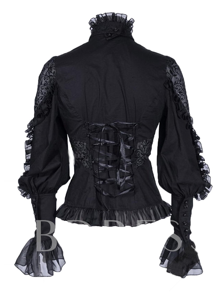 Lace Turtle Neck Goth Cuff Slim Women's Blouse