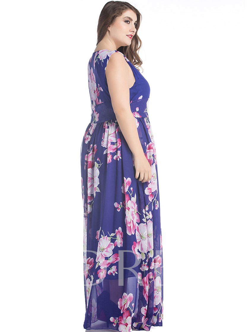 Plus Size Purple Printing Women's Maxi Dress