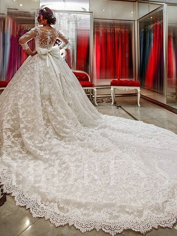Appliques Lace Ball Gown Wedding Dress with Sleeves