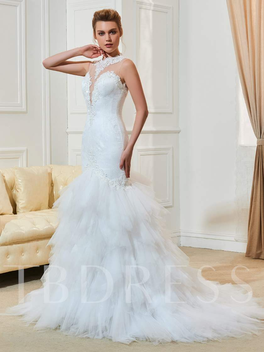 Mermaid Court Train Lace Tiered Wedding Dress