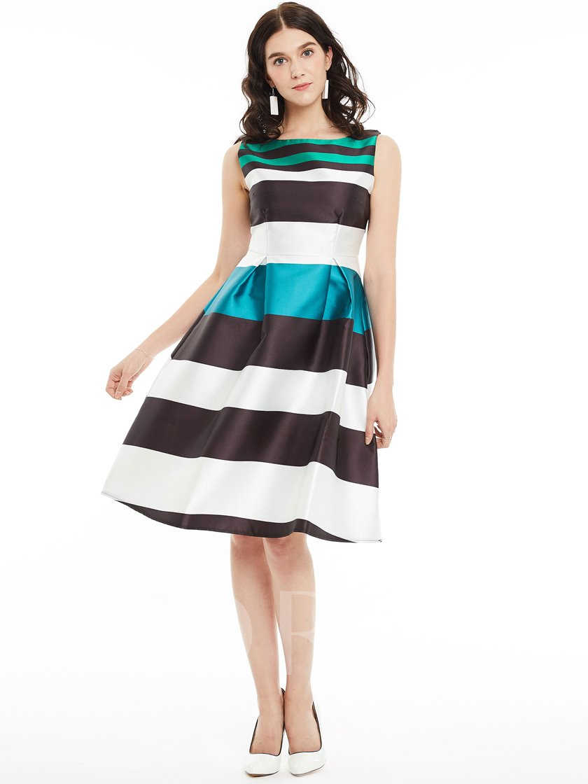 Sleeveless Color Block Princess Stripe Lovely Women's Day Dress