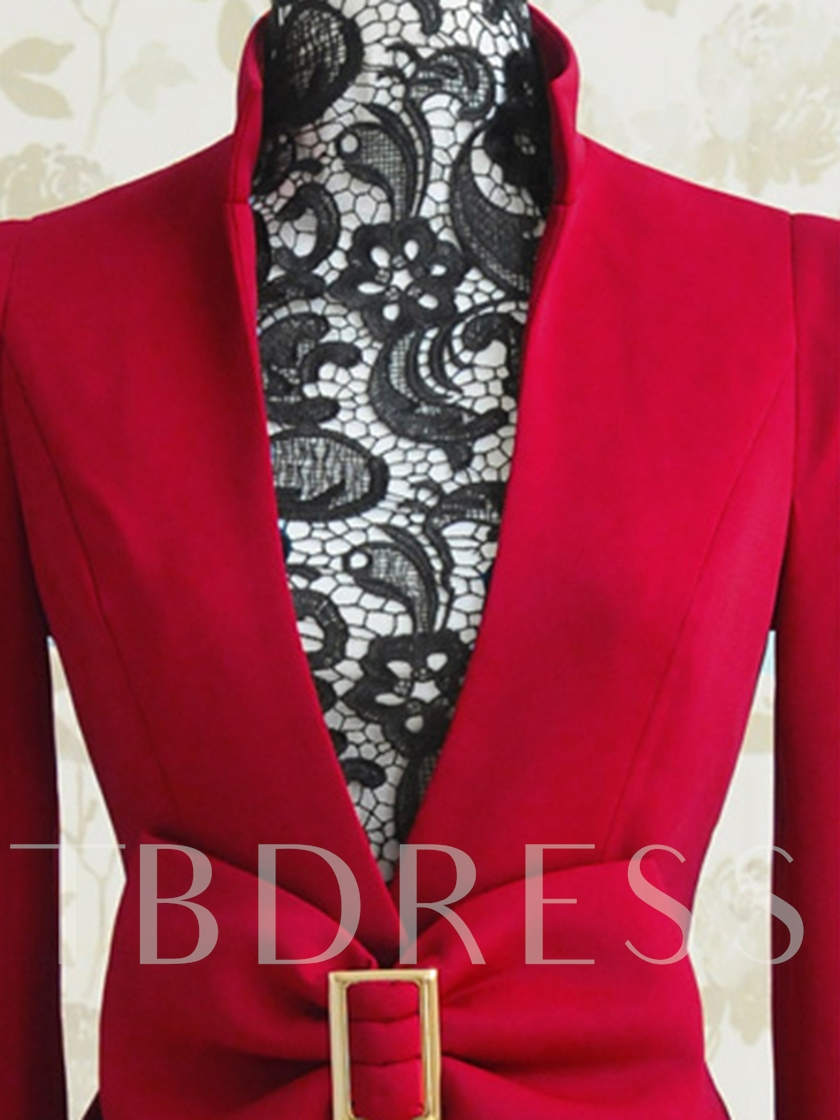 Burgundy V-Neck Bowknot Women's Blazer