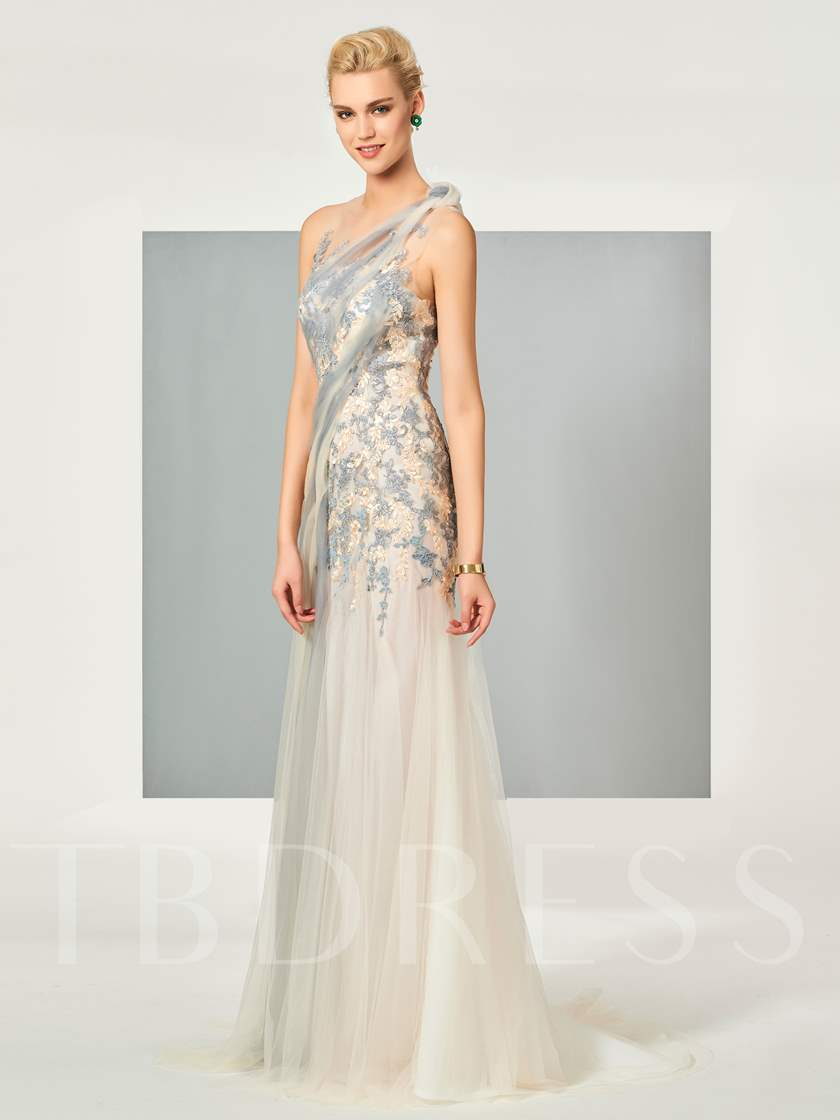 Scoop A-Line Appliques Sleeveless Floor-Length Evening Dress