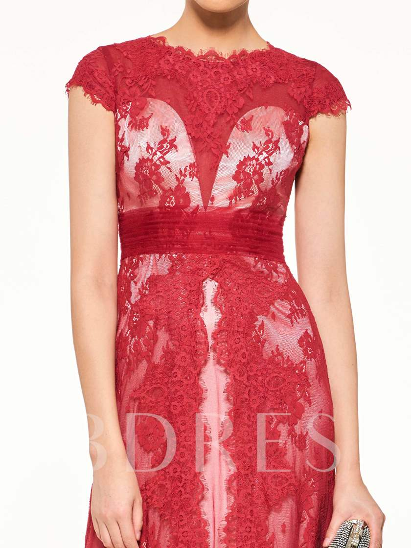 Cap Sleeves Appliques Scoop Neck Button Mother Of The Bride Dress