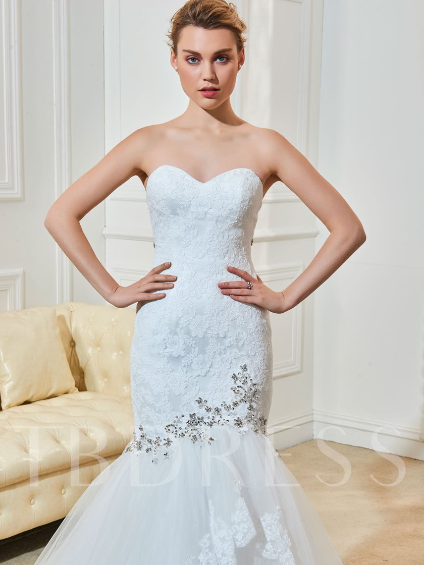 Strapless Beading Appliques Tiered Mermaid Wedding Dress