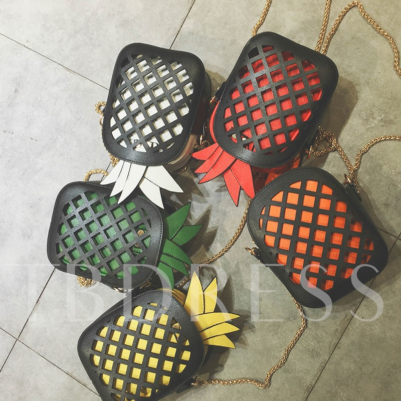 Hollow Out Pineapple Decoration Chain Cross Body Bag