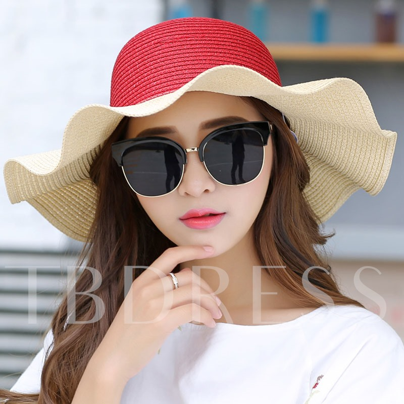 Color Block Agaric Edge Brim Design Sun Hat