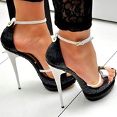 Women Black White Bows Heel Sandals