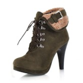 Lace-Up With Buckle Stiletto Heel Women's Short Boots