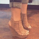 Chic Camel Caged Wedge Sandals