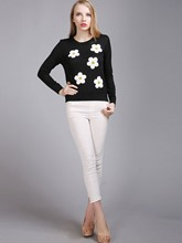 Applique Color Block Slim Women's Sweater