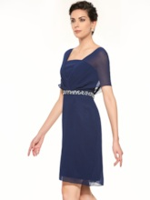 Short Sleeves Beading Sheath Mother Of The Bride Dress