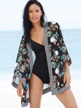 Beautiful Flower Print Patchwork Cover-Up
