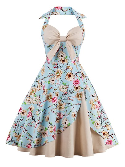 Printing Bowknot Halter Vintage Women's Day Dress