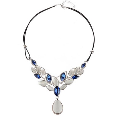 Opal Leaf Pendant Double Layers Artificial Leather Rope Necklace