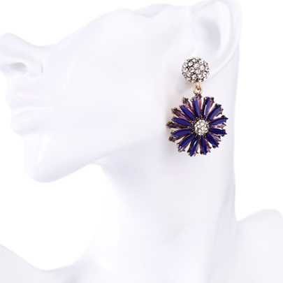 Blue Sun Flower Synthetic Gemstone Women's Earrings