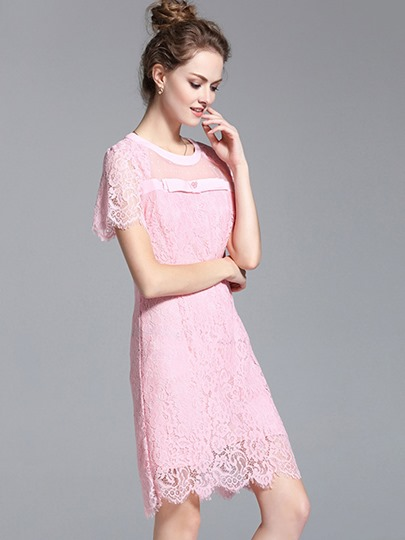 See-Through Short Sleeve Women's Lace Dress