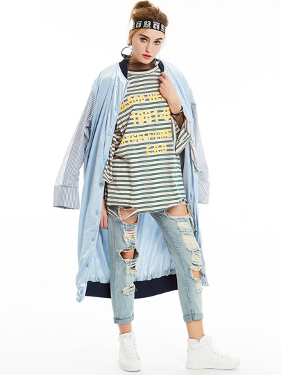 Long Single-Breasted Loose Patchwork Women's Trench Coat