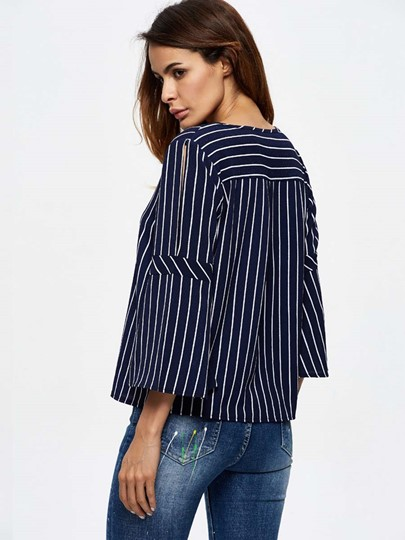 Tie-Up Front Vertical Stripe Flare Sleeve Straight Women's Blouse