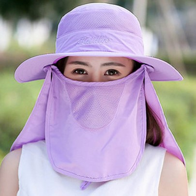 Face Covering Design Solid Color Cotton Sun Hat