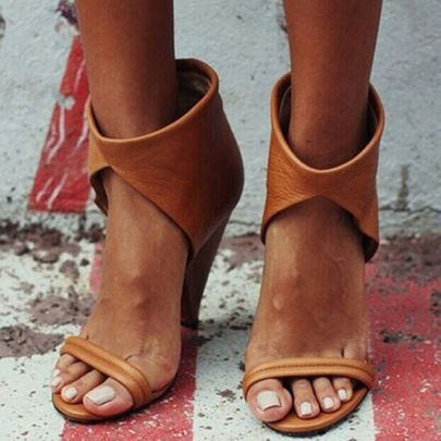 Brown Ankle Wrap Heel Sandals