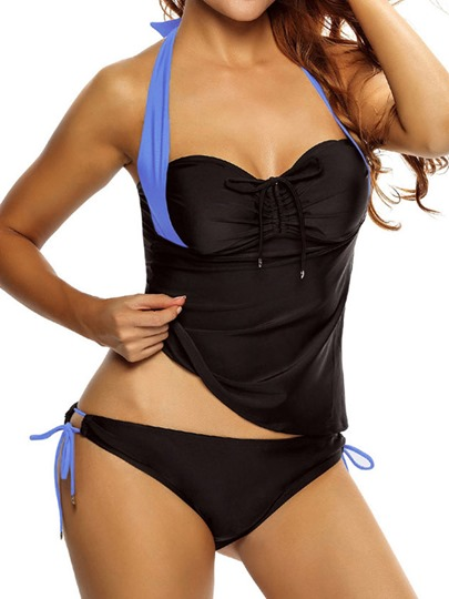 Conservative Halter Lace-Up Tankini Set