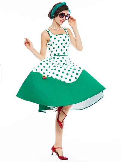 Green Polka Dots Women's Day Dress