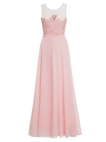 Sheer Neck A-Line Lace Long Prom Dress