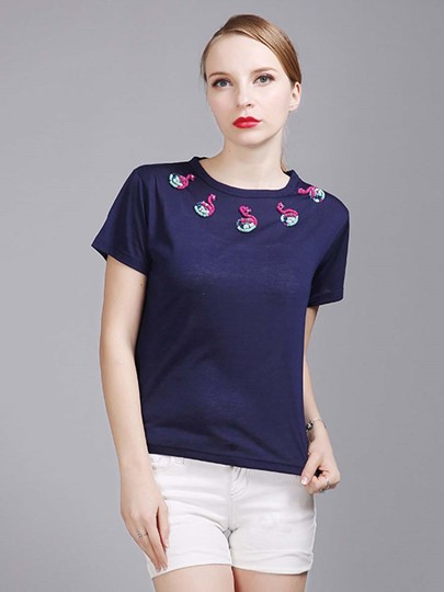 Swan Embroidery Short Sleeve Plain Women's T-Shirt