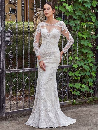 Long Sleeves Scoop Neck Button Mermaid Wedding Dress With Lace
