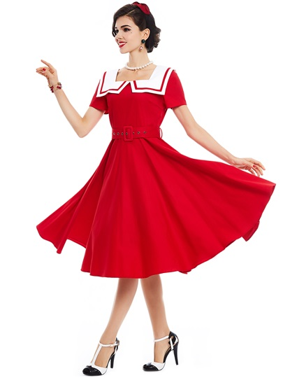 Red Sailor Collar Women's Day Dress