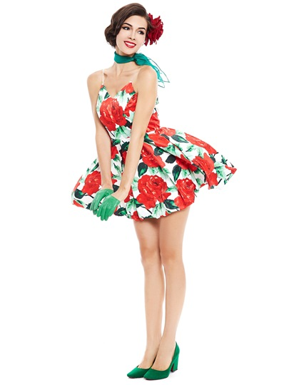 Red Strappy Backless Women's Day Dress