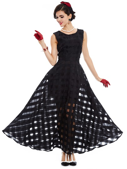Black Plaid Organza Sleeveless Women's Maxi Dress