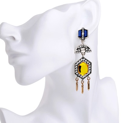 Alloy Yellow Artificial Gemstone Inlaid Tassels Earrings