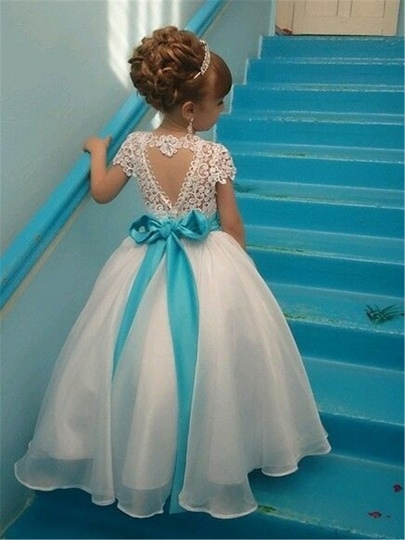 Sash Short Sleeves Rhinestone Flower Girl Dresses