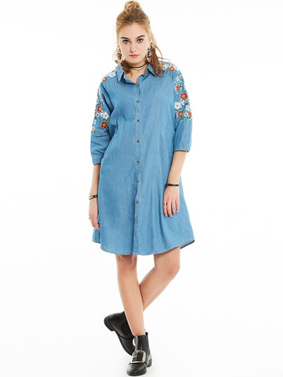 Polo Neck Floral Embroidery Women's Day Dress