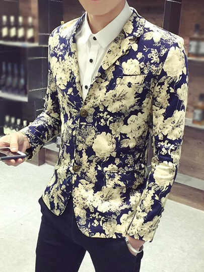 Notched Collar Floral Printed Vogue Slim Fit Men's Casual Blazer