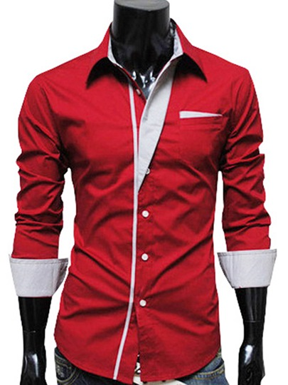 Long Sleeve Lapel Contrast Trim Single-Breasted Slim Fit Men's Shirt