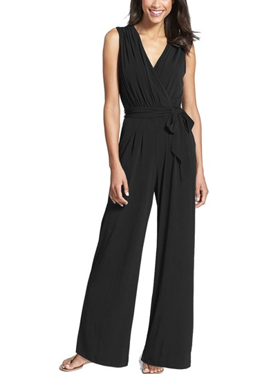High-Waist Plain Lace-Up Women's Jumpsuit