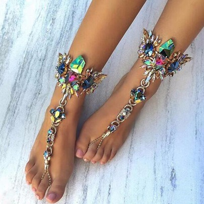Exaggerated Colored Rhinestone Inlaid Anklet