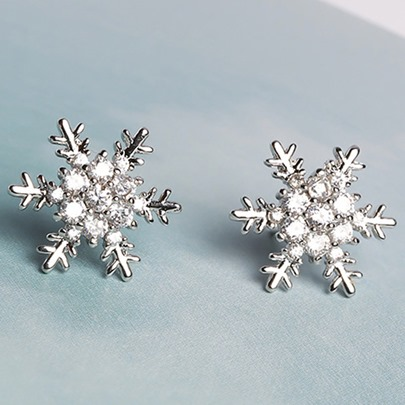 Snowflake Shaped Zircon Inlaid All-Matched Earrings