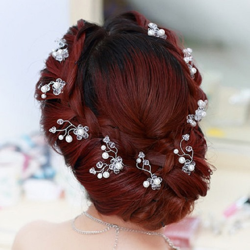 Rhinestone with Pearl Bridal Hairpins
