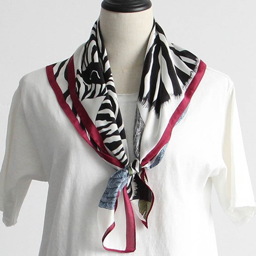 Spring Thin Zebra Stripes Printed Square Scarf