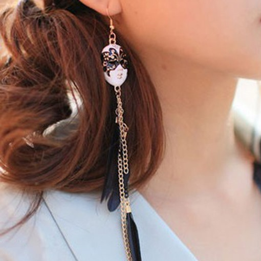 Mask with Feather Retro Pendant Tassels Earrings