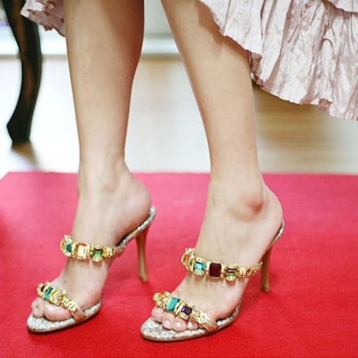 Rhinestone Slip-On Stiletto Heel Women's Sandals