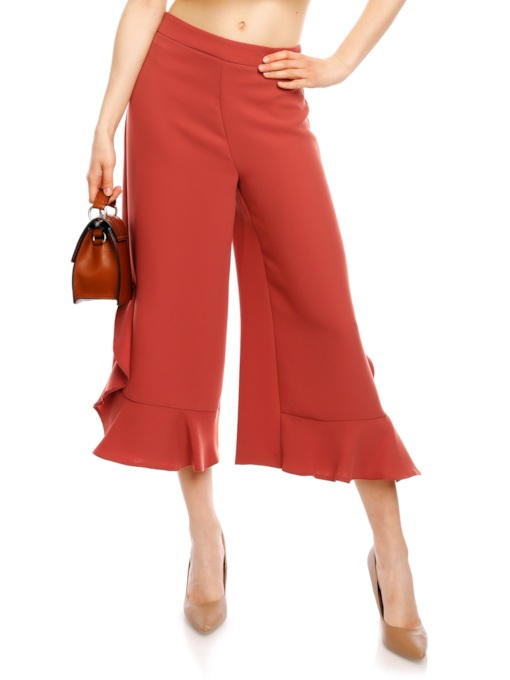 Solid Color Falbala Wide Legs Patchwork Women's Pants