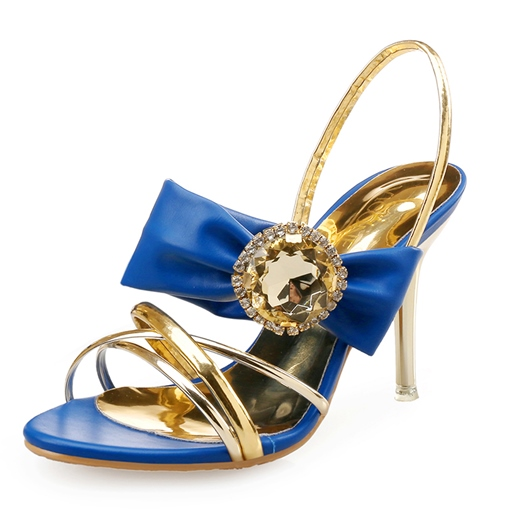 Open Toe Slip-On Color Block Rhinestone Strappy Women's Sandals