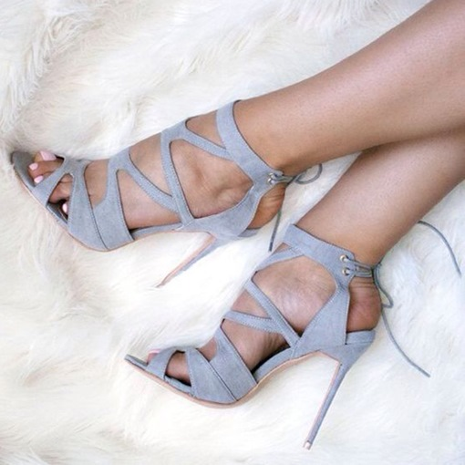 Gray Cutout Back Lace Up Sandals